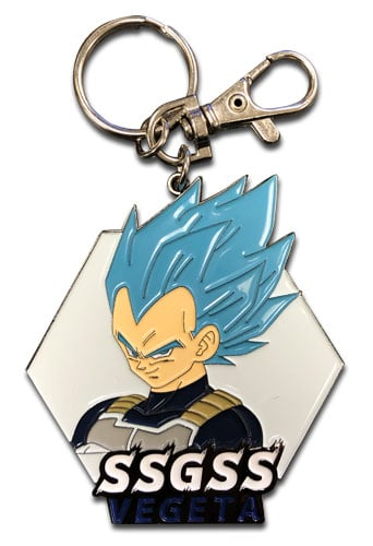 Super Saiyan Blue Vegeta Face Metal Keychain Pose 1